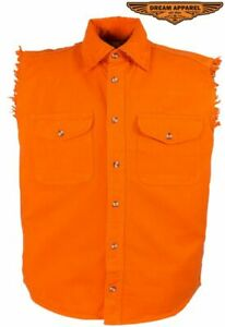 Men's Motorcycle Denim Orange Sleeveless Shirt with Buttoned Front Closure
