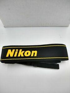 Genuine Nikon Camera Neck Shoulder Strap Black w/ Yellow Monogram