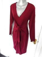 PER UNA Size 12 Berry Purple Soft Stretchy Wiggle Dress Twist Front NEW Lined