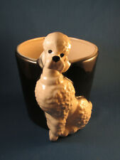 "1940s-50s Vintage Royal Copley Rare Black & White 7"" Ceramic Poodle Planter Pot"