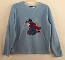 Disney's Womens Medium Eeyore Light Blue Pull Over Winter Holiday Fleece