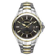 *BRAND NEW* Seiko Men's Diamond Accent Two Tone Stainless Steel  Watch SNE444