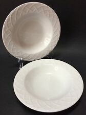 2 Oneida Picnic Rimmed Soup Bowls White Embossed X Pattern 9""