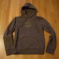 Life is Good Soft Hoodie Women's Small Semi-Fitted Hooded Sweatshirt Brown Green