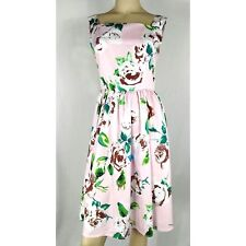 FLOWER & RAIN CLOTHING vintage retro pink floral brown roses dress. Women's  XL