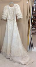 Vintage Wedding Dress French Re'mbroidered Alencon Lace 1971