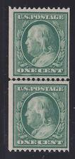 US 385 1c Franklin Mint Coil Line Pair w/PSAG Cert VF OG NH SCV $1000