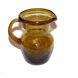 "Vintage Miniature Amber Hand Blown Glass Pitcher Swirl 3"""