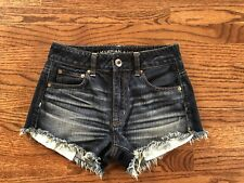 EUC Girls Teen American Eagle High Rise Distressed Fray jean shorts 00