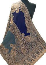 Shades Of Blue Wool Shawl Great Gift—Easy & Unusual. Paisley Jamavar Kashmir