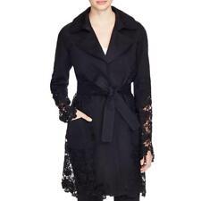 Elie Tahari 5745 Womens Lisa Black Lace Inset Long Sleeves Coat Outerwear M BHFO
