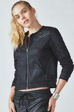 Womens Fabletics Black Jacket Salerno Moto Large 10-12 Fleece Hudson Lovato
