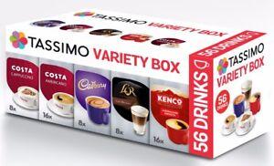 TASSIMO Variety Box 56 ☕☕ T Discs Pods Coffee Latte Cappuccino Americano Cadbury