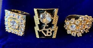 Elvis 3 Ring Collection & Free Velvet Bag. TCB ALOHA HORSESHOE ASHVILLE CLUSTER