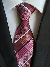 065KT XMAS mens silk neck tie pink rose strips waterproof wedding party ties