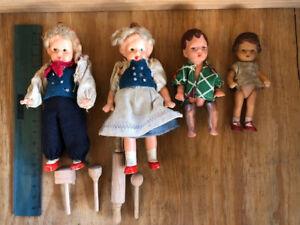 kleine Püppchen antik für Puppenstube Puppenfamilie Wiege Puppenbett Küchenzubeh