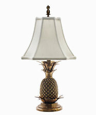 LAMPS   WILLIAMSBURG PINEAPPLE TABLE LAMP   ANTIQUE BRASS WITH OFF WHITE  SHADE
