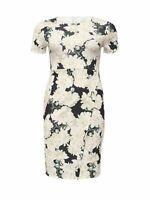 Just Joan Floral Womens Dress Over Split Cream Navy AOP Ladies Size 18 *REF85
