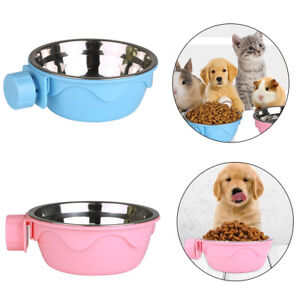 Hang-on Bowl Metal For Pet Dog Cat Crate Cage Food Water Bowl Stainless Steel AU