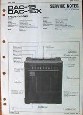 Roland DAC-15 DAC-15X Guitar Amp Original Service Manual / Schematics Sheet