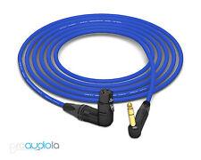 Mogami 2534 Quad Cable | Neutrik Gold 90º TRS to 90º XLR-F | Blue 15 Feet 15'