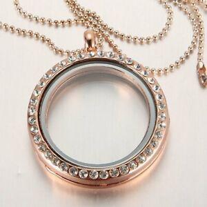 30mm Living Memory Floating Charm Rhinestone Glass Locket Pendant Necklace Chain