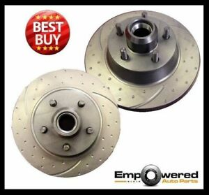 DIMPLED SLOTTED FRONT DISC BRAKE ROTORS for Ford Mustang 1965-1967 RDA7800D