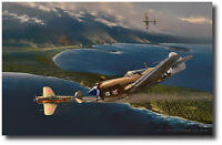 Escape from Cape Moem by Jack Fellows - P-40 Warhawk - Aviation Art Prints