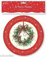 PACK 8 x CHRISTMAS WREATH DESIGN ROUND PAPER PLATES 23cm PARTY TABLEWARE TRPL