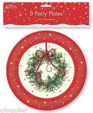 Paquete 8x Guirnalda de Navidad Diseño Platos de papel, Redondos 23cm