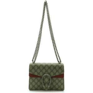 GUCCI Dionysus Chain Shoulder Bag 421970 PVC coating leather Brown Red Used