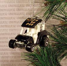 GOLF CART BLACK WHITE HOT ROD DRAGSTER CHRISTMAS ORNAMENT XMAS
