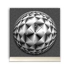 Tischuhr 30cmx30cm inkl. Alu-Ständer -abstraktes Design grau schwarz geräuschlos