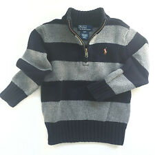 Ralph Lauren Polo Baby Boys Cotton Half-Zip Striped Pullover Sweater, 2T - EUC!