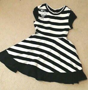 Black/White Dress w/Rhinestone Bling  & Circle Skirt Justice Girls Sz 6