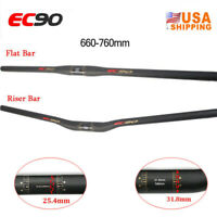 25.4/31.8*660-760mm Handlebar Carbon MTB Bike Riser/Flat Bar Lightweight Black