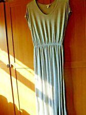 h&m basic grey jersey maxi dress elastic waist, side splits size med [14-16]