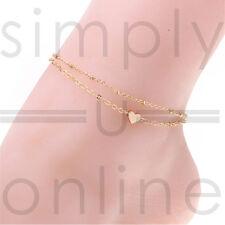 Or ton amour coeur cheville Bracelet Double couche chaîne Sexy pied cheville