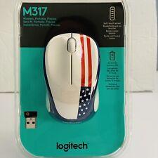 Logitech M317 Advanced Optical Mouse Patriotic American Flag New