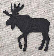 Large Left Moose Black Silhouette Wild Animal Iron on Applique/Embroidered Patch