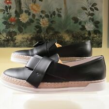 NWB WOMENS AUTHENTIC TOD'S BLACK LEATHER BOW SNEAKERS SLIP ON SHOES 39.5/9.5