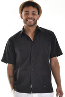 Mens Bohio Cotton Black Cuban Guayabera Classic 4-Pkt Shirt (S ~4X)- MTCG1510