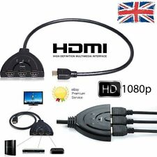 3 Port HDMI Splitter 1080P 3D Switcher Switch HUB Box Cable LCD HDTV PS3 Xbox UK