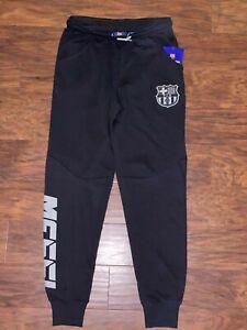 new FCB BARCELONA Youth MESSI Black Track Pants Joggers sz L 10-12years boy girl