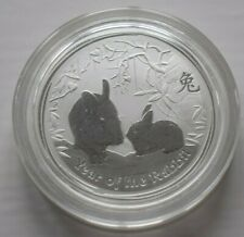 2011 Australia 50c 1/2 oz Silver Lunar Rabbit coin in Capsule