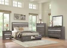 Transitional Gray & Silver Finish 5 piece Bedroom Set w. Queen Storage Bed IA5B