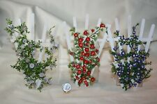 Miniature Dollhouse 3 Vintage Wood Garden Trellis w Flowering Vines 1:12 NR