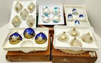 Vtg Glass KREBS & CHRISTMAS CLASSICS  Ornaments Set 20 Germany Sparkle Bells