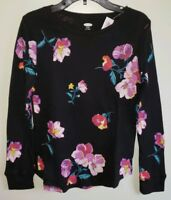 Old Navy Girls 5 / 14 Long Sleeve Thermal Top BLACK PURPLE FLORAL Shirt  #10219