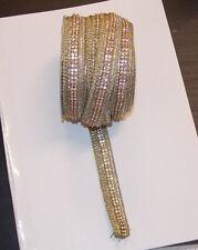 1m gold Diamonte crystal cake decoration dance wedding ribbon mesh rhinestone